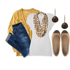 Mustard, leopard print, white tee  jeans by qtpiekelso on Polyvore