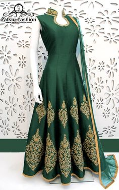 PalkhiFashion Exclusive Full Flair Dark Green Colored Elegant Hand Work Silk Outfit.