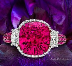 I don't need to know if this is a Ruby or a Rubellite to desire this astonishing piece of high end designer jewelry by MartinKatzJewels.