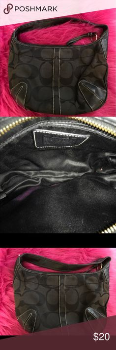 Black Small Vintage Hobo Coach Bag Beautiful black small vintage Coach handbag. It is a Hobo style. It have areas that are more worn than others. However it does have more use. In the inside it has some pink stains. Coach Bags Hobos