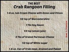 crab rangoon dip Meat & Potatoes, Recipes and More!: The BEST Crab Rangoon Filling Crab Rangoon Filling, Crab Rangoon Recipe, Crab Rangoon Dip, Crab Dip Recipes, Seafood Recipes, Milk Recipes, Clotted Cream, Crescent Rolls, Crispy Wonton
