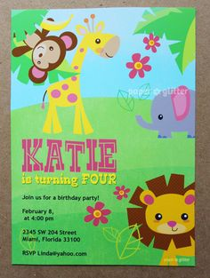 Safari Jungle Animal Zoo Party Invitation for girly birthday or baby shower, Invite or Thank You Card Printable PDF or JPG. $10.00, via Etsy.