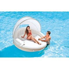 Canopy Island Lounge Floating Swimming Pool Oasis with Detachable Sunshade Floating Canopy, Floating In Water, Floating Lounge, Inflatable Floating Island, Inflatable Raft, Pool Canopy, Lake Rafts, Pool Shade, Sun Shade