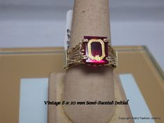 Vintage Mid 1980's Semi-Faceted Initial Ring  Here for your consideration is a 10 x 8 mm semi-faceted stone with Gold Initial inlay on a  Garnet color stone. I purchased th... #jewelry #ring #wrapped #ring