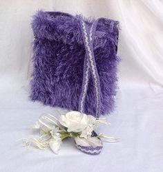 Tracollina elegante in filato pelliccia color viola : Borse a tracolla di bags-dream-team