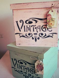 Decoupage Box, Decoupage Vintage, Vintage Crafts, Vintage Shabby Chic, Shabby Chic Style, Wood Crates, Wooden Boxes, Altered Cigar Boxes, Barn Wood Crafts