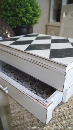 Small box updated with black and white harlequin and the little drawer even has a black and white pattern inside.