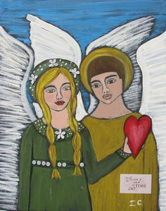 Folk Art Angels Original mixed media Painting on by icColors, $144.00