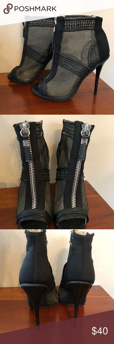 GX Mesh Zippered Bootie Heels Size 7 In amazing condition! Worn a few times, shoes minor signs of use. Super sexy and comfy! Great with just about any outfit. Size 7 GX by Gwen Stefani Shoes Ankle Boots & Booties