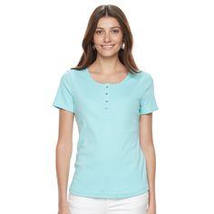 Women's Croft & Barrow® Henley Tee, Size: Medium, Turquoise/Blue (Turq/Aqua)