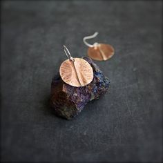 Peach Brass Round Dangle Earrings Rustic Oxidized Textured Organic Fold-Formed Disk Circle Short Metalwork Boho Jewellery