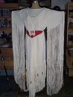 NATIVE DESIGN WEDDING DRESS DEER ELK HIDE CUSTOM MADE DOESKIN BUCKSKIN FRINGE