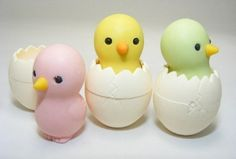 Chicken in Egg Japanese Collectible Erasers. 3 Pack. Assorted Colors. by PencilThings. $3.00. Pink, yellow and green chick n egg erasers.. Take-apart erasers and put them back together again and again!. Non Toxic. IWAKO erasers.. These erasers are perfect collectables, party favors, special events, souvenirs for offices, schools, teams and weddings, corporate gifts, and accessory pieces for doll houses. They are fun mini puzzles, as well, because each different colored pie...