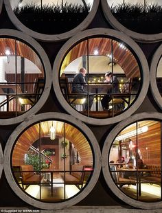 Work of art: This imaginative facelift of a bar in Melbourne, Australia, using concrete drainage pipes is undoubtedly intriguing