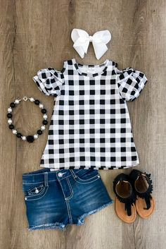 Black White Gingham Sunkissed Shoulder Shirt - Sparkle in Pink Little Girl Outfits, Cute Outfits For Kids, Little Girl Fashion, Baby Girl Fashion, Toddler Fashion, Kids Fashion, Fashion Clothes, Back To School Outfits For Kids, 2000s Fashion