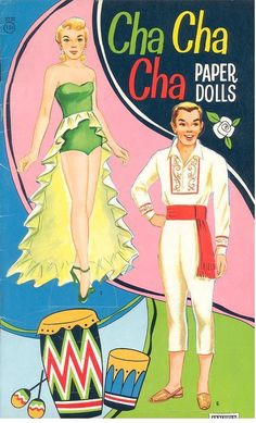 Reprint of CHA CHA CHA Paper Dolls with costumes representative of traditional dress in assorted Central and South American countries. Judging by the style and the cover price, the reprint probably is from the early 60s. <><> 1 of 8