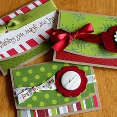 Gift card holder.  Instructions are in a link to a pdf from Two Peas in a Bucket