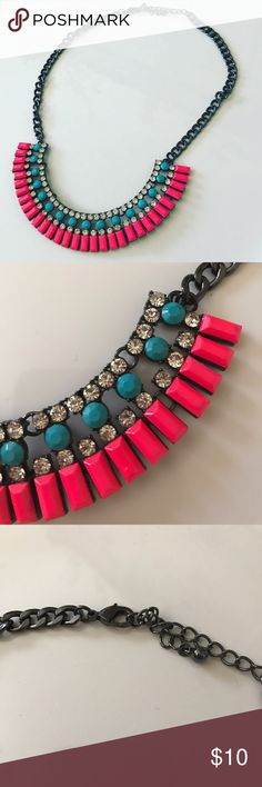 Tribal Necklace Neon Pink/Blue/Rhinestone Tribal necklace with hematite Hardware. Adjustable lobster clasp Jewelry Necklaces