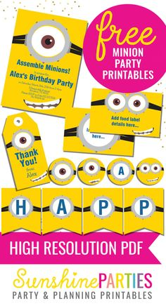 FREE Minion Party Printables - enjoy the invitation, birthday banner, food labels and party favors - all free! Check out our website for a 'how to' video - just download, personalize and print!