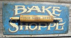 Bakery Sign, original, hand painted, wall decor, wooden sign, kitchen decor,hand made sign via Etsy