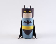 Cardboard Tube Batman- awesome! If your kids love the Lego movie, they'll love making their own Batman! This would be great for the Batman v. Superman movie too. | AllFreeKidsCrafts.com