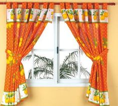 Tab Top Curtains, No Sew Curtains, Curtains With Blinds, Orange Kitchen Curtains, Orange Accessories, Home Sew, House Rooms, All Design, Decoration