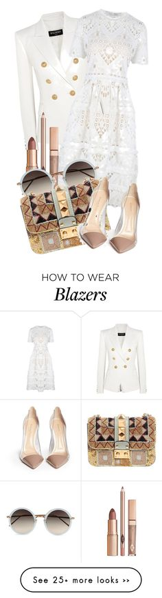 """Untitled #2916"" by kingof21stfashion on Polyvore featuring Balmain, Alexis, Linda Farrow, Valentino and Gianvito Rossi"