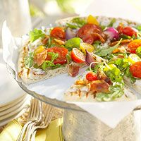 BHG's Newest Recipes:Grilled Onion Flatbread with Bacon and Arugula Recipe