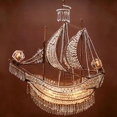 Crystal Ship Chandelier I've been wanting this for my living room for years! Mason Jar Chandelier, Chandelier Lighting, Crystal Chandeliers, Nautical Chandelier, Bathroom Chandelier, Bubble Chandelier, Chandelier Ideas, Habitat For Humanity, Crystal Ship