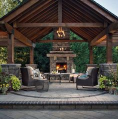 Rustic backyard patio and + marvelous rustic outdoor fireplace designs for Backyard Pavilion, Outdoor Pavilion, Backyard Gazebo, Rustic Backyard, Pergola Patio, Cheap Pergola, Pergola Screens, Screened Patio, Rustic Outdoor Fireplaces