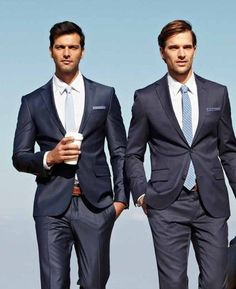 Navy suits are a wardrobe staple.