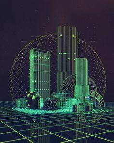 everydays - april 2018 on Behance Futuristic Art, Futuristic Technology, Futuristic Architecture, Technology World, Technology Design, Technology Background, Cyberpunk Art, Future City, City Buildings