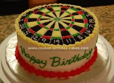 Homemade Dartboard Birthday Cake: I made this dartboard birthday cake for my cousin's birthday. She is a huge dart player and absolutely loved it. I printed a picture of a dartboard and