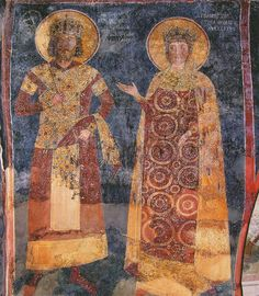 Fresco painted inside Boyana Church near Sofia in 1259. Tsar Constantine Asen Tikh and tsarista Irina