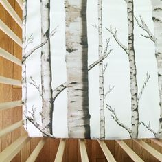 fitted crib sheet in birch trees