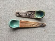 Ceramic Hand Built Spice Spoons Set of 2 von persimmonstreet