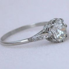 Vintage Engagement Rings | Platinum 1.38ct Diamond Edwardian Style Antique Engagement Ring