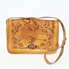 vintage 60s 70s HIPPIE hand tooled FLORAL leather CROSSBODY bag by PasseNouveauVintage, $35.00