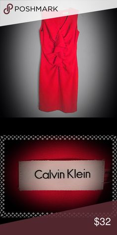 Calvin Klein Red Cocktail Party Dress Size 4 I am helping my friend Roxanne clean out her closet!!! She has a beautiful collection of items she is getting rid of. All of the proceeds are helping her pay her bills. She is a Pancreatic Cancer Survivor and has fallen behind on a lot of her bills while going through Chemo and Radiation. She made it through and is in remission!!! All of her clothing is in beautiful condition and hardly worn. This red dress is made by Calvin Klein and a Size 4…