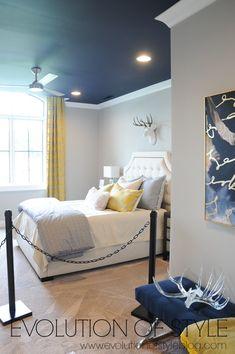 Bedroom Neutral Blue Ceilings 28 Ideas For 2019 Navy Blue Bedrooms, Neutral Bedrooms, Guest Bedrooms, Master Bedrooms, Blue Ceiling Bedroom, Boys Bedroom Decor, Bedroom Ideas, Teen Bedroom, Bedroom Colors
