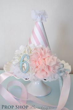 Girls Flower Ballerina Birthday Party Hat.
