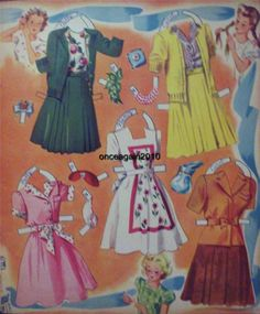 SLUMBER PARTY Paper Dolls: Nancy, Betsy, Carol, Jeanie, Patty  #4854 Merrill 1943 <> 3 0f 7