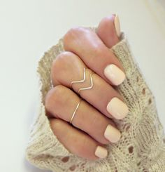 Above the Knuckle Ring Chevron Set, Midi Stacking Rings Dainty Rings    -These handmade knuckle rings (midi rings) come as a set of three