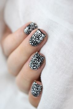 Marine Loves Polish: Black & White Roses nail art - Nicole Diary ND102 stamping