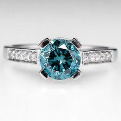 1.4 Carat Blue Diamond Engagement Ring w/ Accents 14K White Gold....OH MY SOUL IT'S A TEAL ENGAGEMENT RING!!!!!!!!!!!!!! :DDDDD