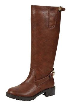 SOLID VEGAN LEATHER BUCKLED STRAP TRIM BOOTS- Brown