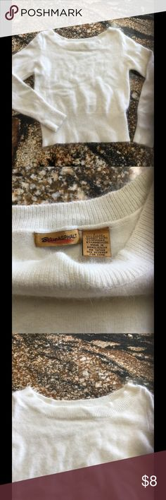Angora blend boat-neck sweater Beautiful boat neck you can wear it ass off the shoulder to very stretchy  good condition Sweaters