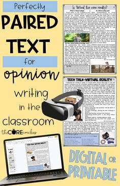 Perfectly paired text passages for opinion writing in the classroom on Virtual Reality. Digital or printable, compatible with Google Slides and perfect for distance learning.