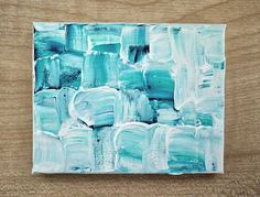 Jade Abstract Green & White Original Tiny Painting by Julia Underwood at Jewells Art