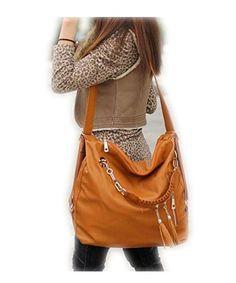 f8ca1779ce53 E S U Women PU Leather CrossBody Shoulder Bag Tote Purse Satchel Messenger  Handbag Color Brown at Amazon Women s Clothing store